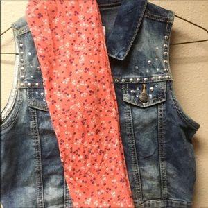 Girls Demin Justice Brand Vest w/ Leggings